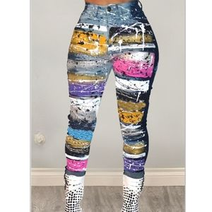 Multicolored printed pants